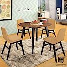 泰坦餐桌椅組(1桌4椅-艾比餐椅)-106.5x106.5x75cm
