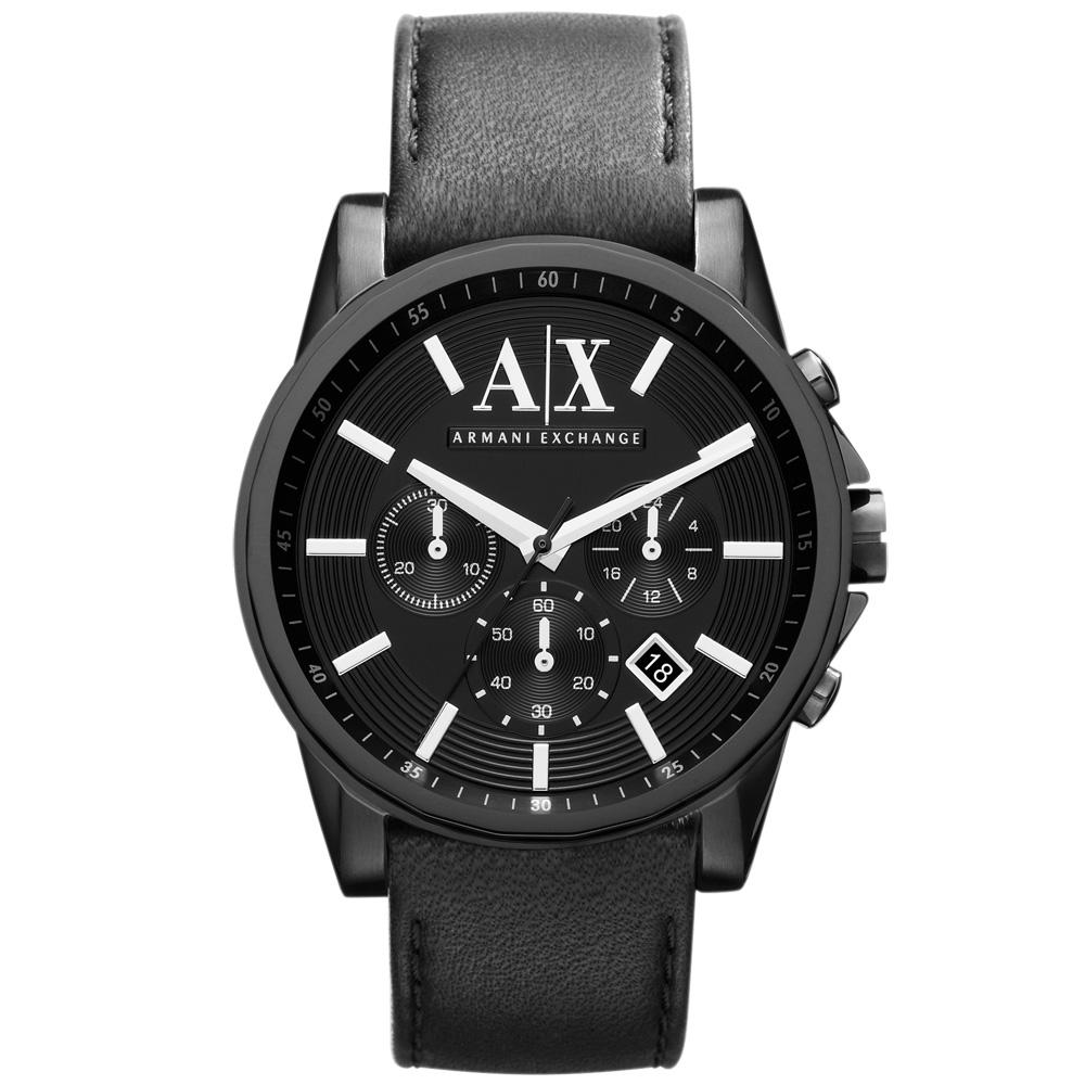A│X Armani Exchange 知性簡約計時都會腕錶-IP黑/44mm