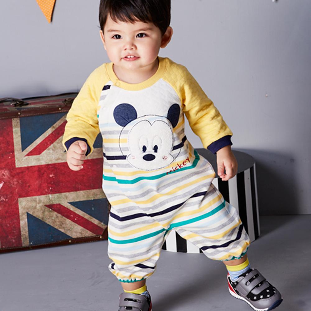 Disney baby 米奇系列多彩包紗連身裝 駱黃