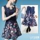 LIYO理優歐風洋裝印花無袖洋裝(深藍)