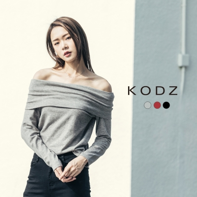 東京著衣-KODZ 歐美時髦微性感一字領多色針織上衣-S.M.L(共三色)