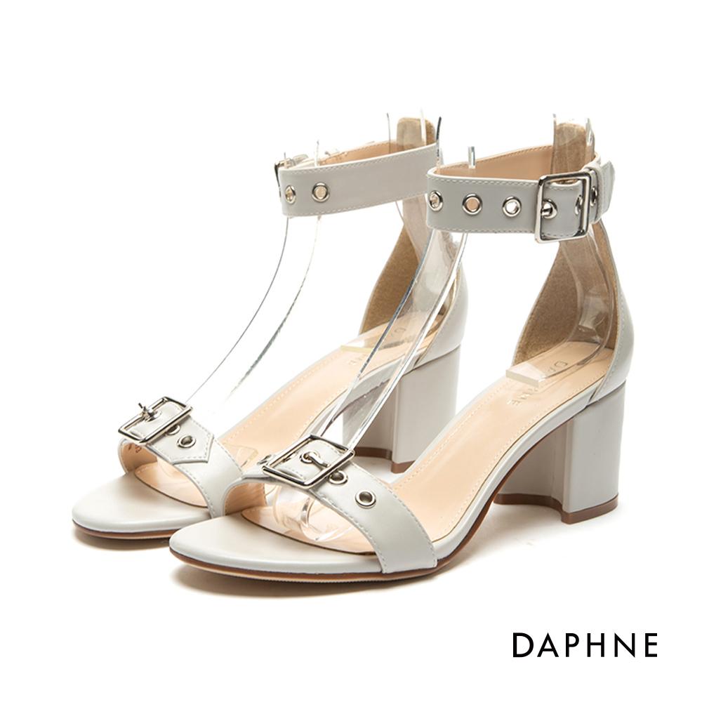 達芙妮DAPHNE 涼鞋-皮帶扣造型中粗跟一字涼鞋-米白