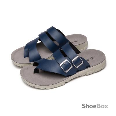 鞋櫃ShoeBox-雙層扣帶斜口剪裁夾腳男拖鞋-風格藍