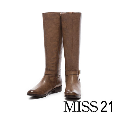 MISS 21 話題女王金屬釦環筆直低跟長靴-棕
