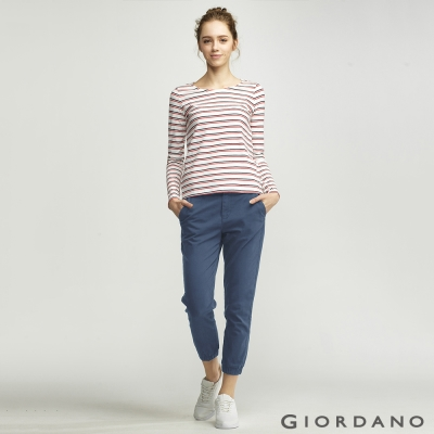 GIORDANO-女裝簡約素色舒適棉質束口褲-61-靛藍色