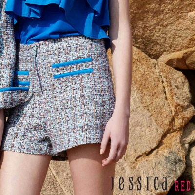 JESSICA RED-復古格紋編織造型短褲