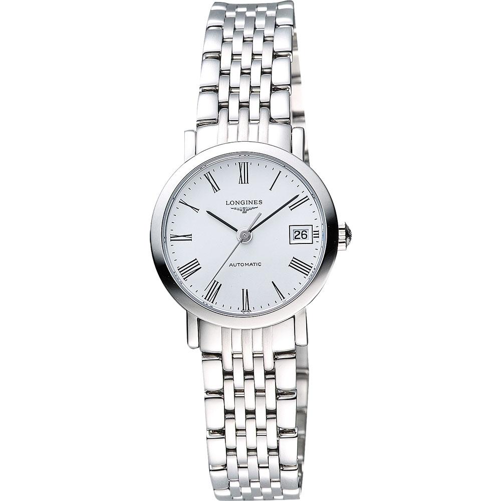 LONGINES Elegant Collection 羅馬時尚機械女錶-白/25mm