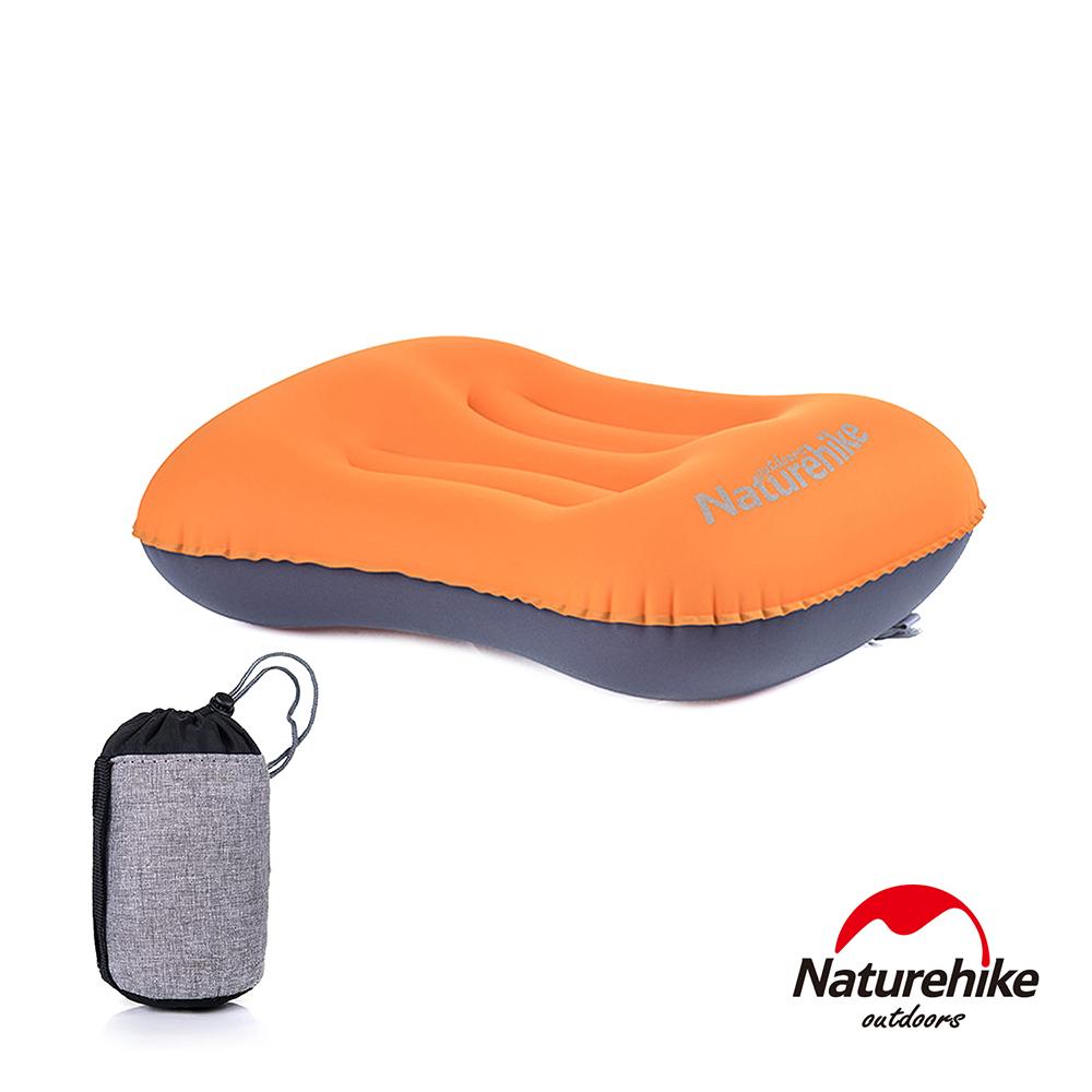 Naturehike戶外旅行 超輕便攜式口袋充氣睡枕 升級款 亮橙色