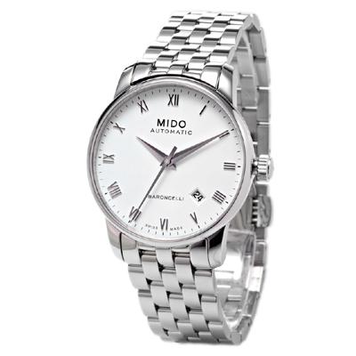 MIDO Baroncelli系列 銀色羅馬機械錶 - 鍊帶/38mm