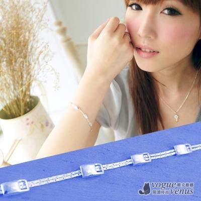 維克維娜  蜜糖女孩。方塊鏤空雙鍊串接設計 925純銀手鍊