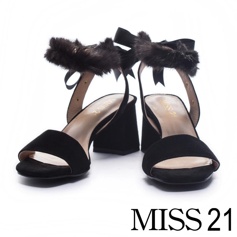 涼鞋 MISS 21 優雅甜心一字繫帶麂皮高跟涼鞋-黑