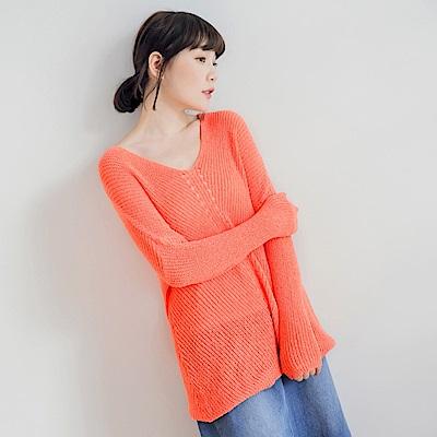 素色美背鏤空落肩針織毛衣-OB大尺碼