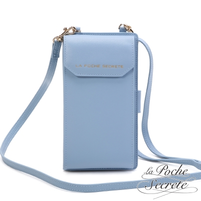 La Poche Secrete真皮 簡約風格真皮質感可肩背手機長夾-天空藍