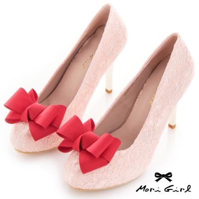 Mori girl 優雅可拆式立體蝴蝶結蕾絲高跟婚鞋 粉