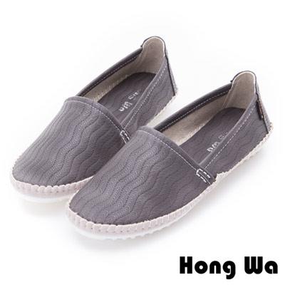 Hong Wa-壓紋百搭舒適懶人樂福鞋-灰