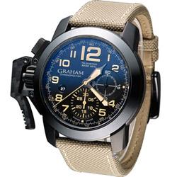 GRAHAM 格林漢 Sahara 左冠計時機械腕錶-黑+駝色/47mm
