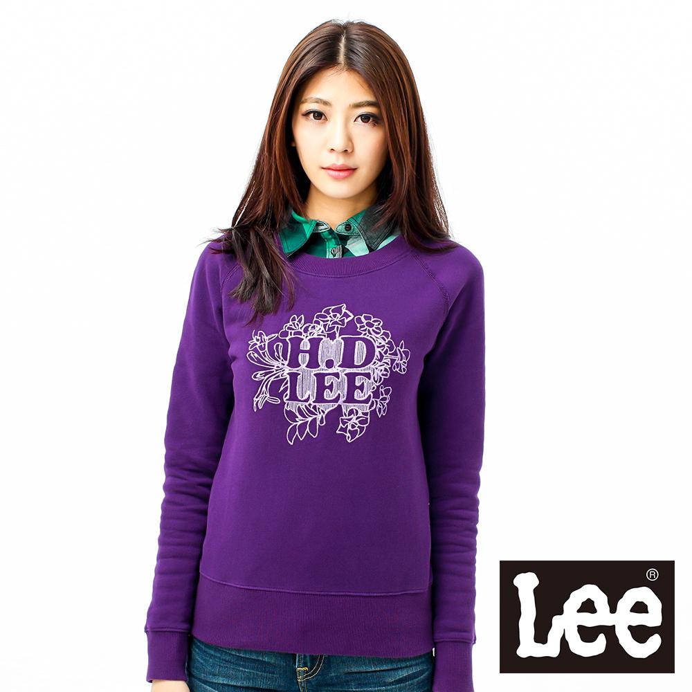 Lee 長袖T恤 拉克蘭袖前刺繡圖案-女款(紫)