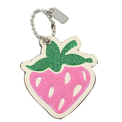 COACH 亮蔥裝飾草莓造型鑰匙圈(白)
