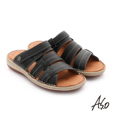 A.S.O 奈米氣墊超能耐 摔花牛軟皮涼拖鞋 黑色