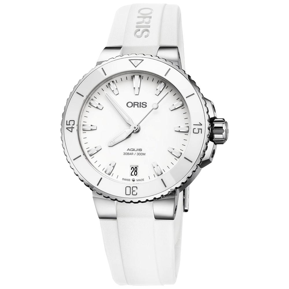 Oris豪利時 Aquis 時間之海潛水300米機械錶-白色橡膠帶/36.5mm