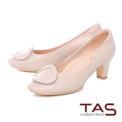 TAS質感圓飾羊皮高跟鞋-淡雅膚