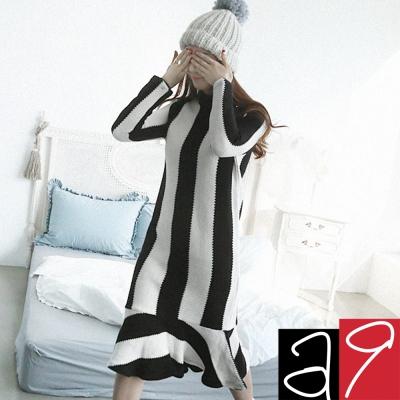 正韓 黑白條紋花邊連身洋裝(黑+白)-a.9