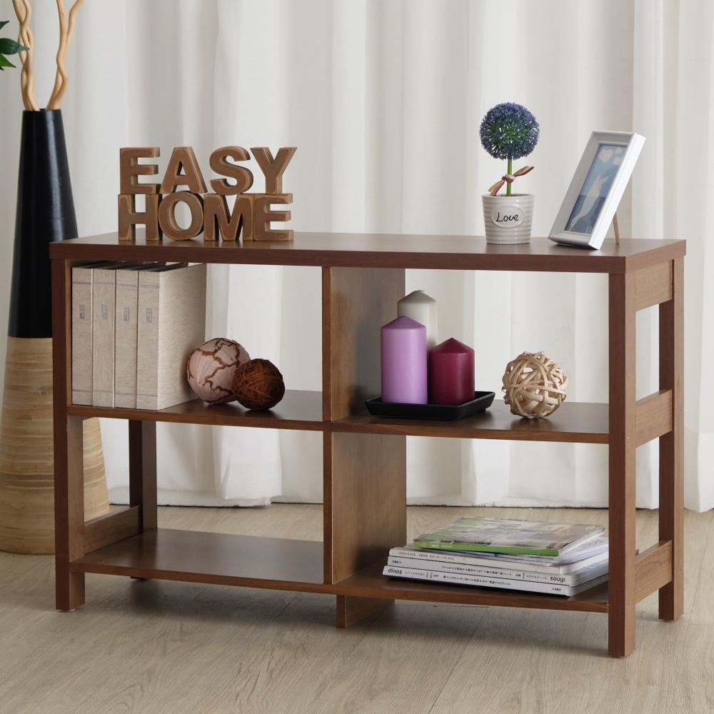 EASY HOME 二層四格加寬隔間展示收納櫃-胡桃色90x29.6x56.1cm-DIY