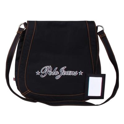 POLO 品牌字樣尼龍磁釦斜背包(黑)