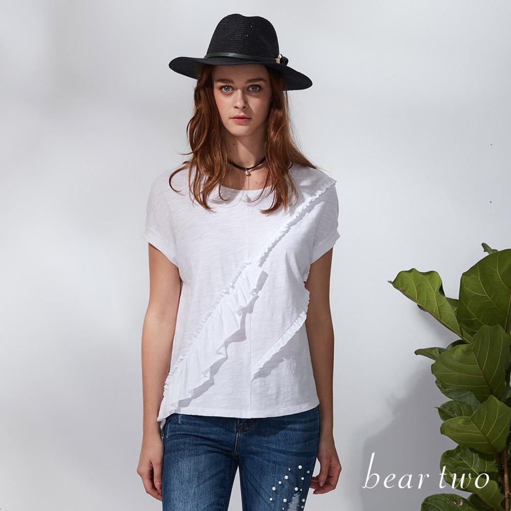 beartwo 不對襯荷葉裝飾寬版連袖棉T (二色)
