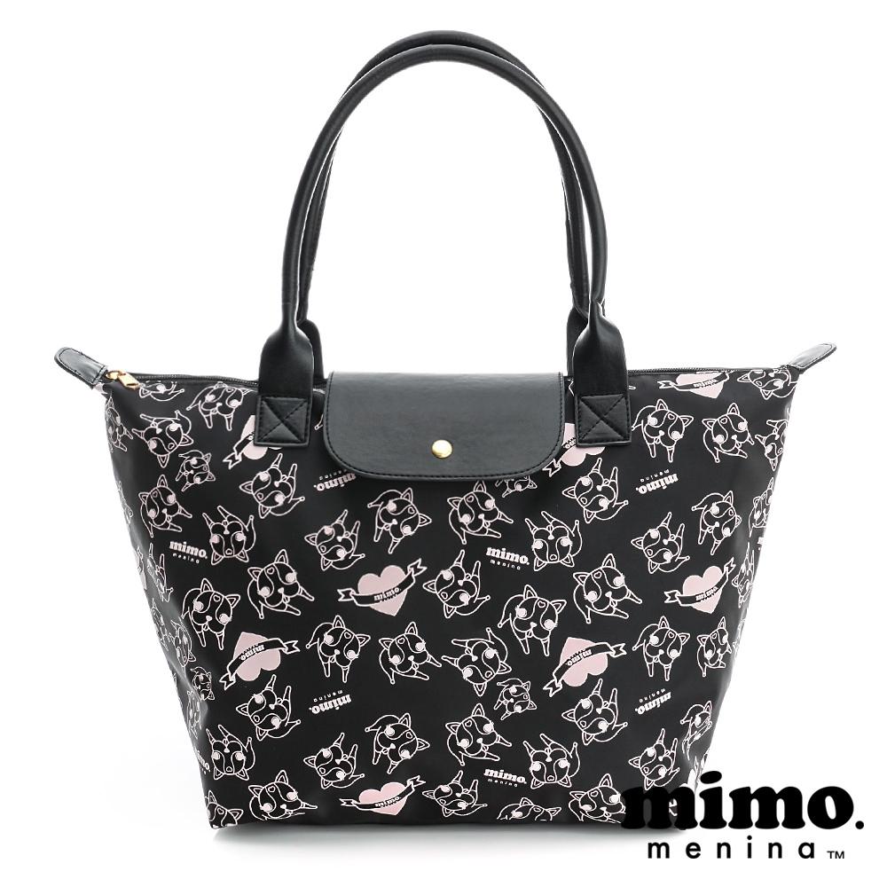 MIMO 心心相印 滿版圖案側背包-黑粉(大)