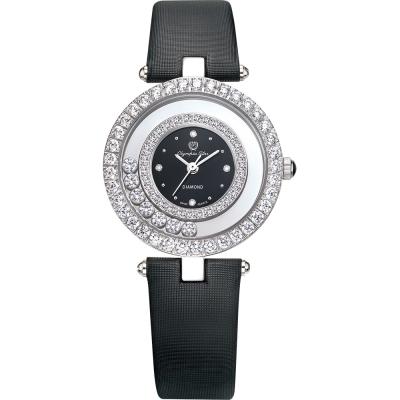 奧林比亞之星 Olympia Star 星空幻影真鑽時尚腕錶-時尚黑 28019DLW