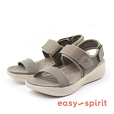 Easy Spirit--一字鬆緊魔鬼氈厚底涼鞋-軍綠