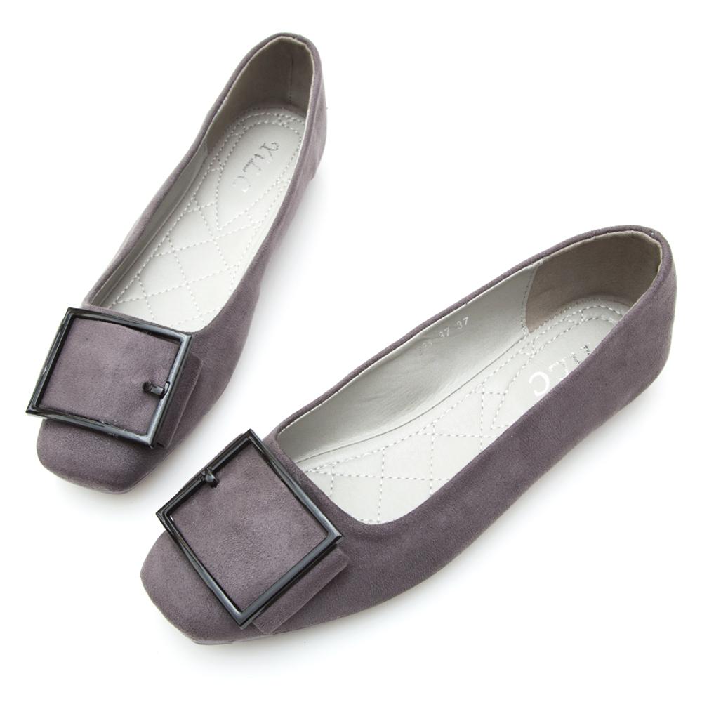 A one 麂絨皮帶釦方頭娃娃鞋-灰色