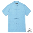 GIBBON 水墨意象精品短袖唐裝‧藍色M~3L