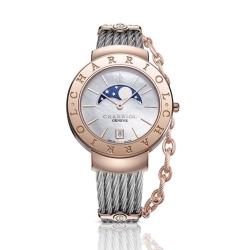 CHARRIOL 夏利豪 時尚月相鎖鍊錶-(白貝面玫瑰金)-35mm