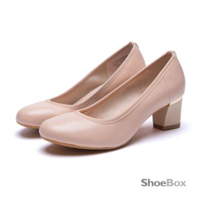 鞋櫃ShoeBox-優雅圓楦金屬飾條粗高跟-粉膚