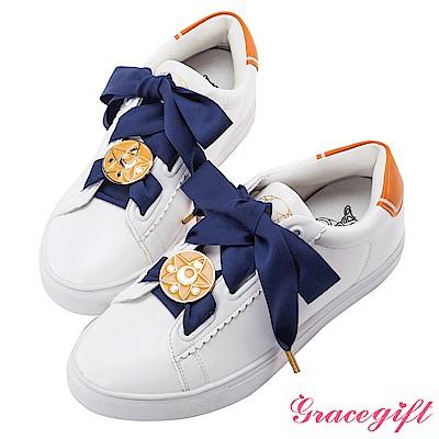 Grace gift-美少女戰士變身器緞帶休閒鞋 黃