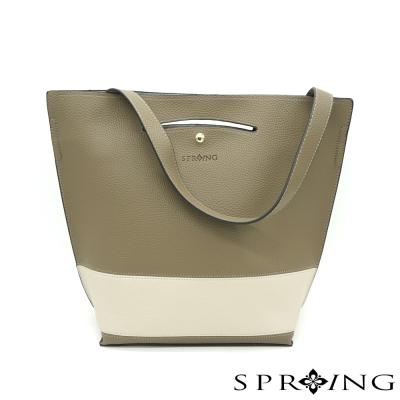 SPRING-簡約經典撞色拼接三用包-灰綠