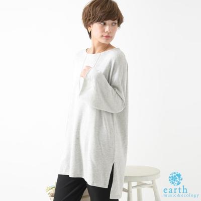 earth music 中長版素色寬袖針織上衣
