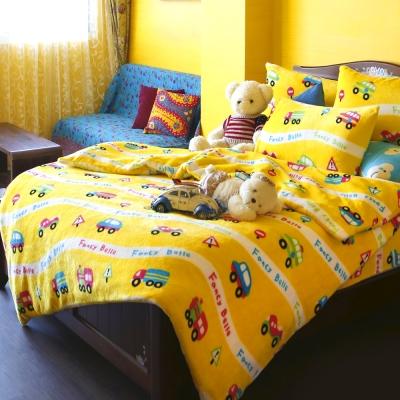 義大利Fancy Belle《車車遊樂園》加大四件式雪芙絨被套床包組