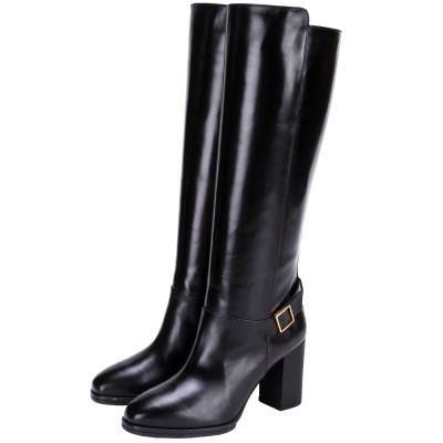 TOD'S 小牛皮素面粗跟長靴(黑色)