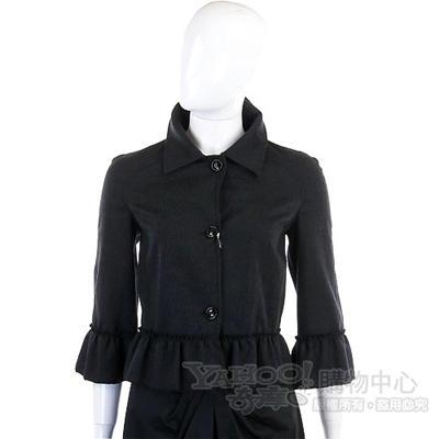 VALENTINO 黑色荷葉滾邊毛質外套