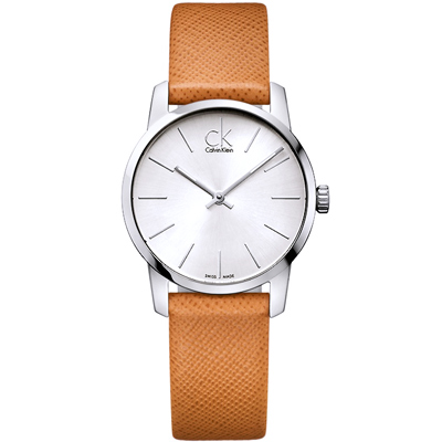 Calvin Klein CK復古英倫時尚真皮手錶-銀X駝/30mm