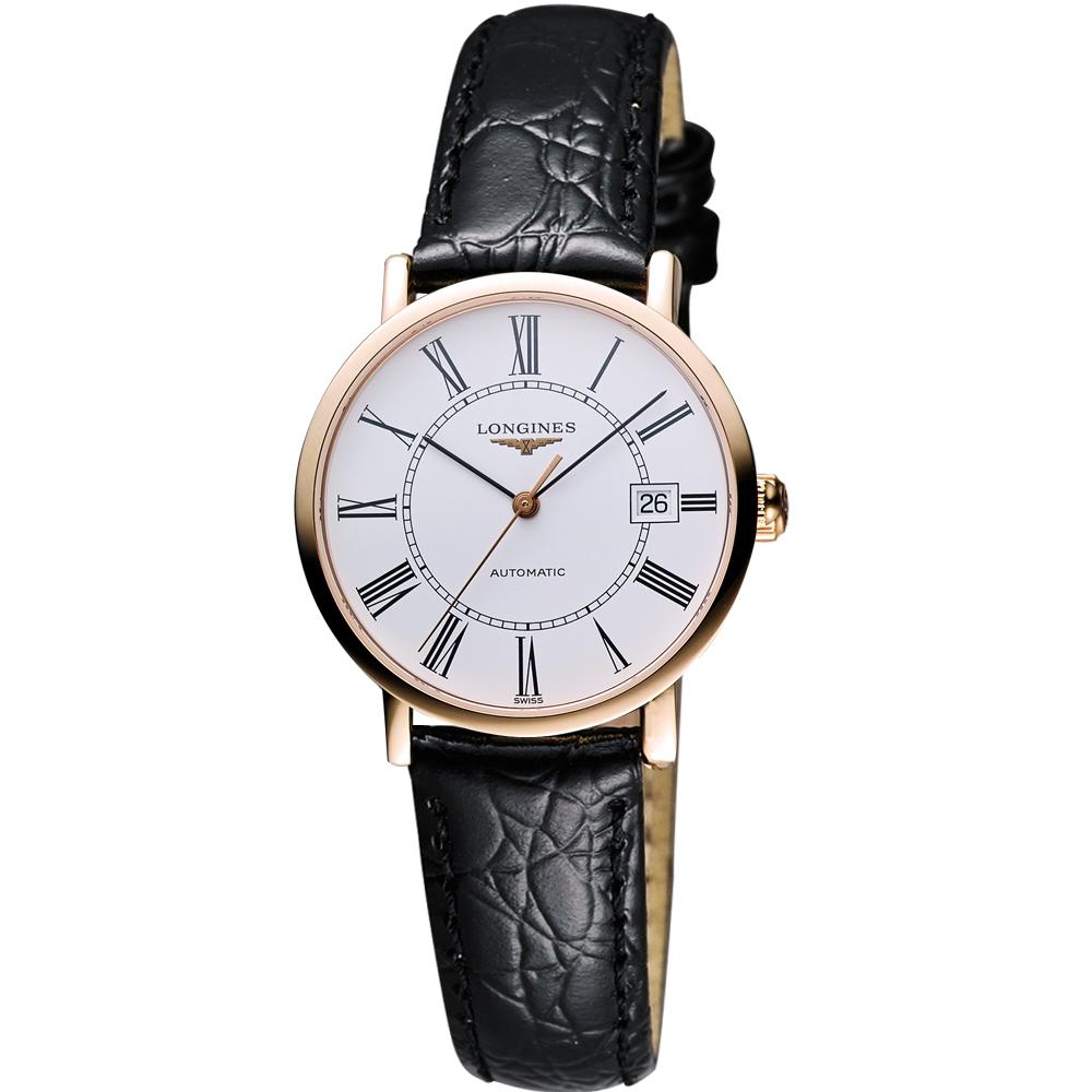 LONGINES Presence 經典羅馬18k玫塊金機械女錶-白x玫瑰金框/29mm