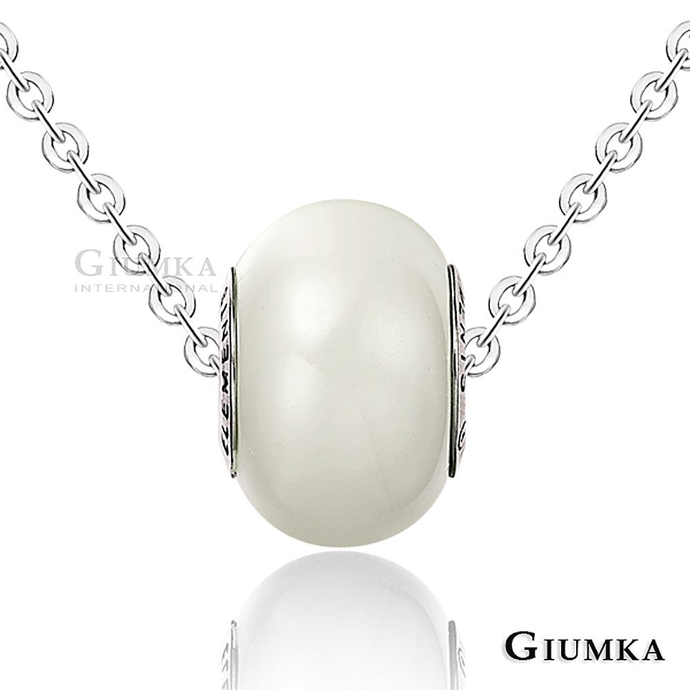 GIUMKA 繽紛世界 水晶白鋼項鍊-白色