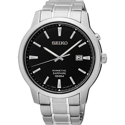 SEIKO KINETIC 紳士型男人動電能腕錶(SKA741P1)-黑/44mm