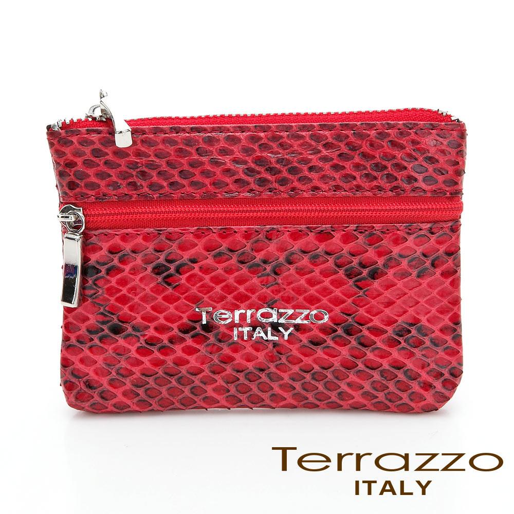 【Tree House】義大利Terrazzo 時尚蛇皮雙層零錢鑰匙包-紅色 73S1997A10100