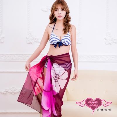 沙灘巾 度假風情 多種穿法外搭紗裙(漸層紅花F) AngelHoney天使霓裳