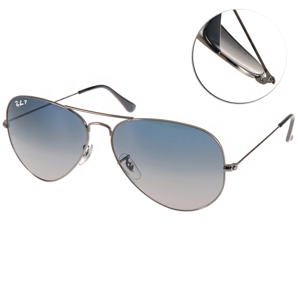 RAY BAN偏光太陽眼鏡 經典品牌/銀-漸層藍灰#RB3025 00478(大版)