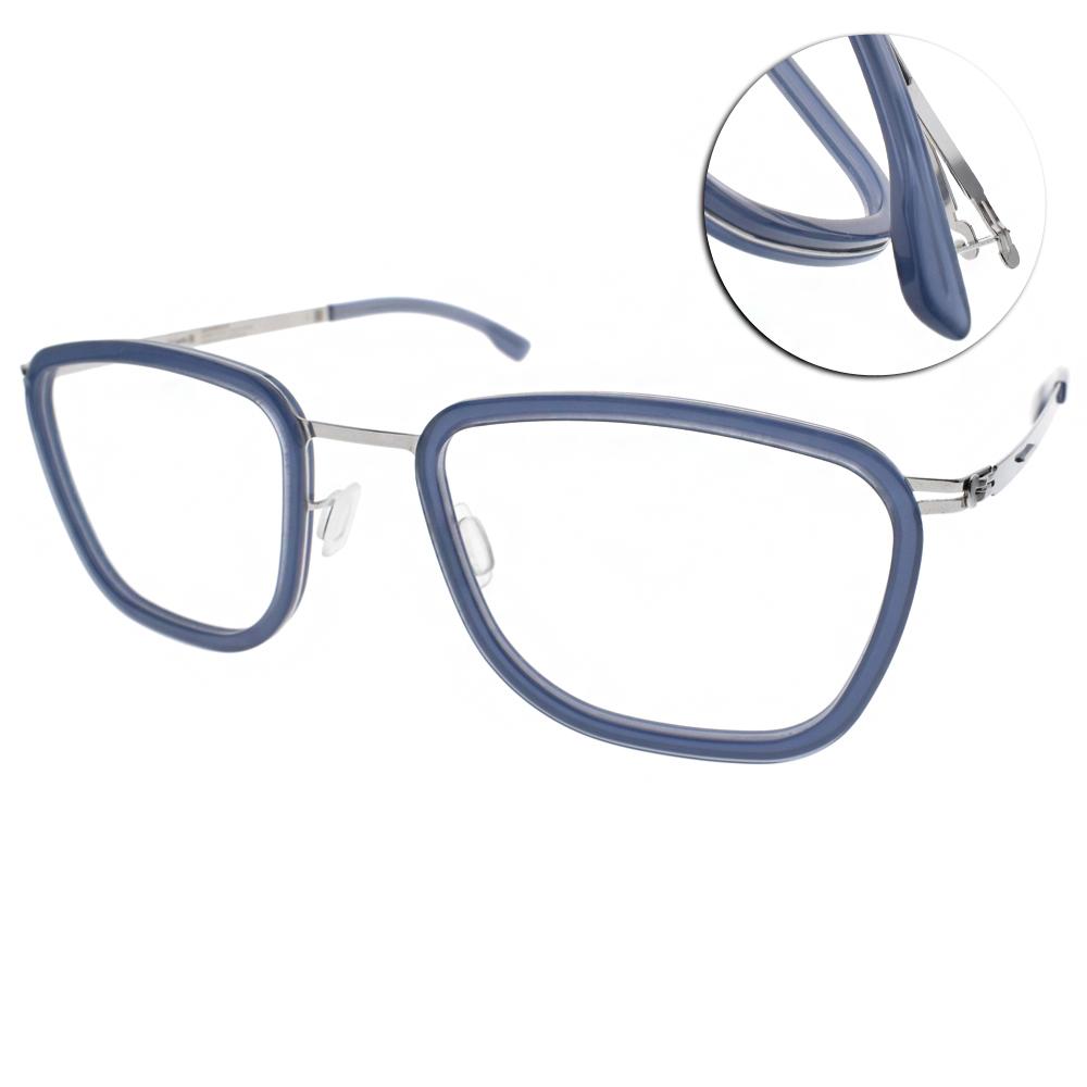 ic!berlin眼鏡 薄鋼復古框型/藍-銀#TAKU CHROME